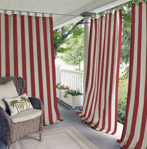 striped porch curtains on blue front porch from amazon