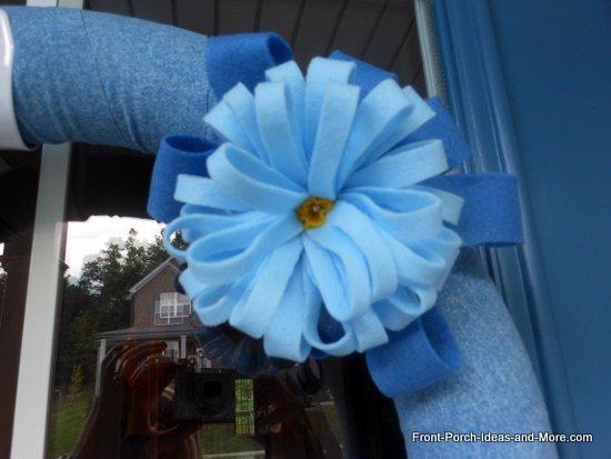bow on summer wreath made from felt