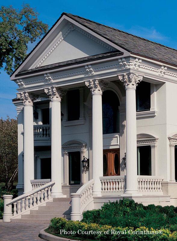 Royal Corinthian® synthetic stone columns on front porch