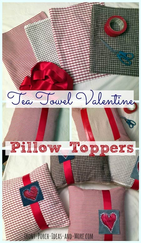 Tea towels and ribbon make for nice pillow toppers