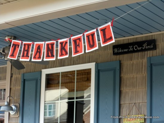 thankful banner on our front porch