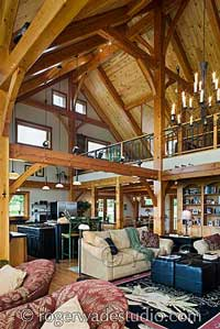 Timber frame home design interior