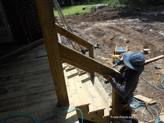 top rail being attached to post on other side of steps