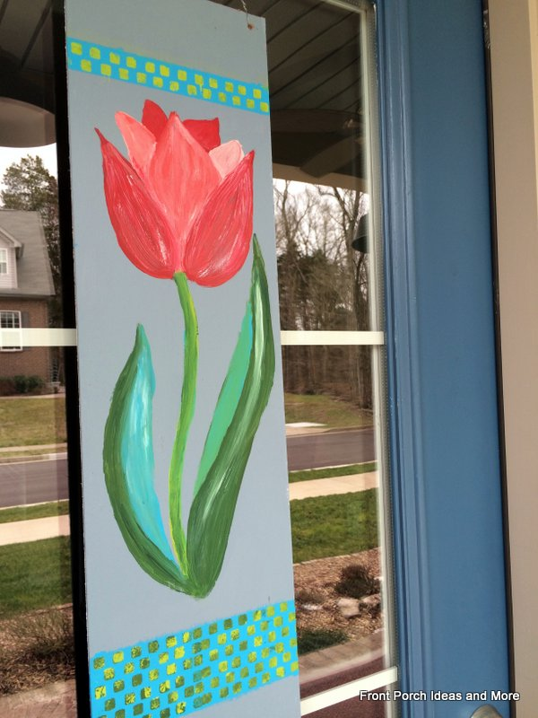 Spring decorating idea: paint a tulip banner for your front door!
