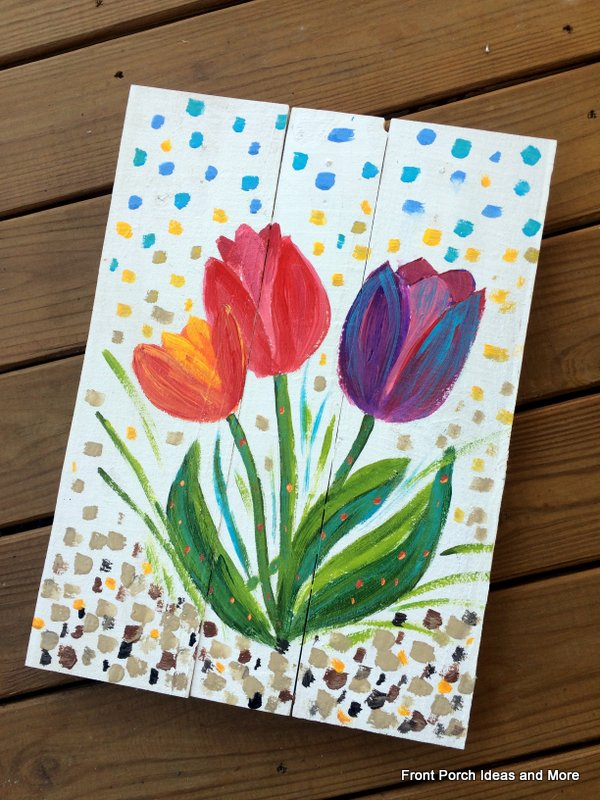 Spring decorating idea: paint a tulip sign like this for your porch