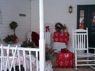 front porch decorated for Valentine's day