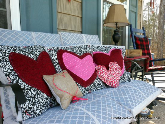 Valentine pillows on front porch