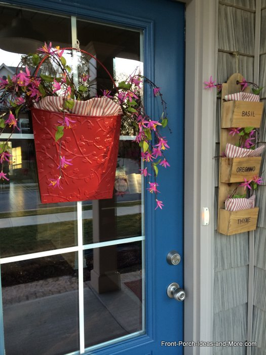 valentine day's front door with red basket and flowers