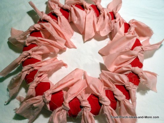 valentine wreath with more pink ties