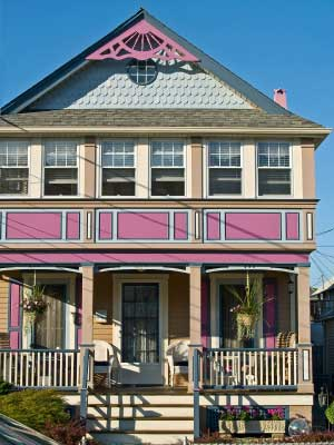 Victorian hous with pink trim