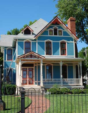 Lovely blue Victorian house
