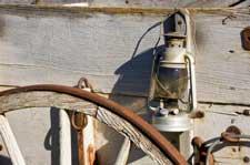 Wagon wheel and lantern