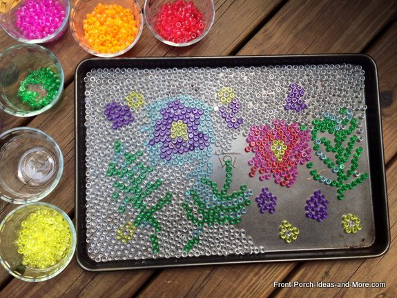 Cool garden art - I used clear translucent beads for the background