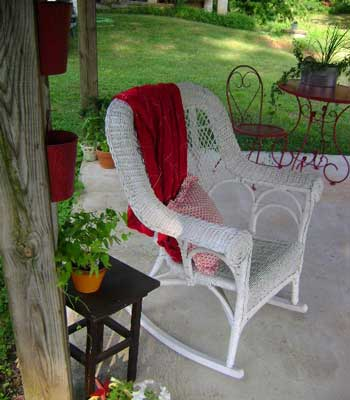 relax in this wicker rocker