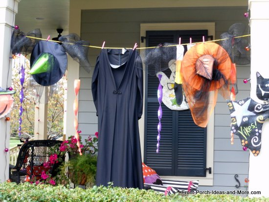 The witches clothes are hanging on the clothesline