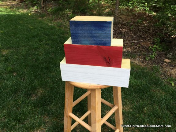 Our wood blocks are painted red, white and blue for our Memorial Day Tribute Project