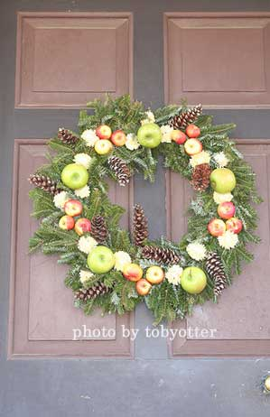 wreath made with faux fruit