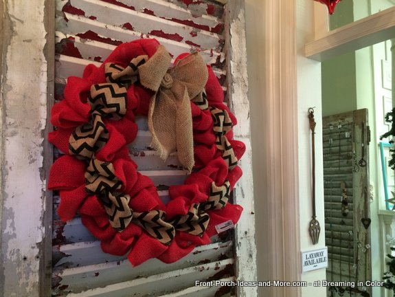 burlap wreath on old shutter