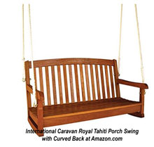 Unique yellow balau shorea wood porch swing from Amazon