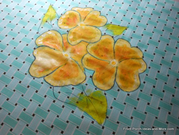 yellow pansy painting for our spring pillow toppers